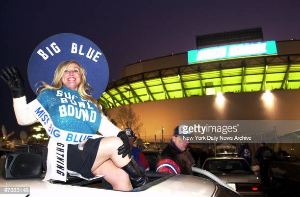 Miss Big Blue Sondra Fortunato is ready to take a ride to the Super Bowl at Giants Stadium parking lot after the NFC Championship Game between the...