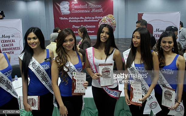 Miss Bikini Philippines pageant candidates pose during an event as part of Cervical Cancer Awareness Month at the Fabella Hospital in Manila on May 8...