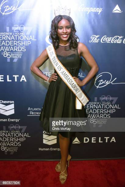 Miss Black Teen US Ambassador Sectra Okundae walks the red carpet at The 2017 Andrew Young International Leadership Awards and 85th Birthday Tribute...