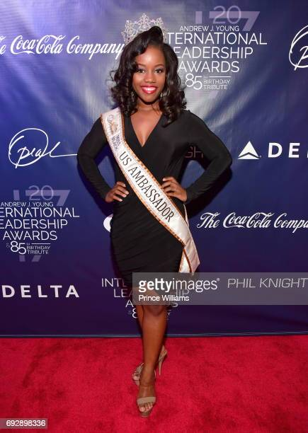Miss Black US Ambassador Archie Stewart attends the 2017 Andrew Young International Leadership awards and 85th Birthday tribute at Philips Arena on...
