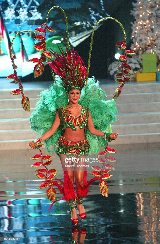 Miss Bolivia Yessica Mouton displays her national costume at the 2012 Miss Universe National Costume event at Planet Hollywood Casino Resort on December 14, 2012 in Las Vegas, Nevada.