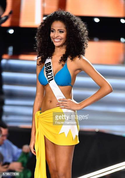 Miss Brazil 2017 Monalysa Alcantara is named a top 10 finalist during the 2017 Miss Universe Pageant at The Axis at Planet Hollywood Resort Casino on...