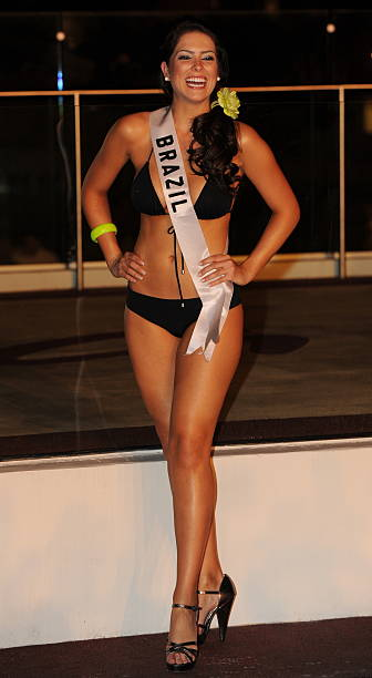 Miss Brazil Débora Lyra poses for photographers during the Miss Universe 2010 Contestant Swimsuit Event at the Mandalay Bay Hotel in Las Vegas on...