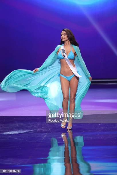 Miss Brazil Julia Gama appears onstage at the Miss Universe 2021 Preliminary Competition at Seminole Hard Rock Hotel & Casino on May 14, 2021 in...