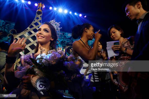 Miss Brazil Marcelo Ohio meets the press after being crowned as the winner during the Miss International Queen 2013 beauty contest on November 1 2013...
