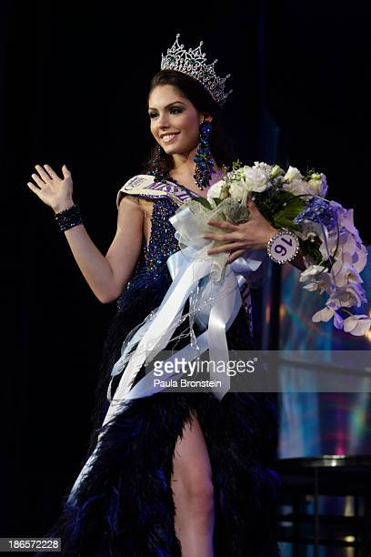 Miss Brazil Marcelo Ohio waves after being crowned as the winner during the Miss International Queen 2013 beauty contest on November 1 2013 in...