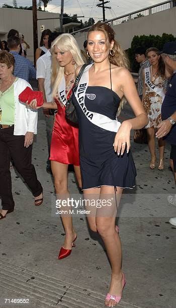 Miss Bulgaria Galena Dimova one of the 2006 Miss Universe Contestants attends the unveiling of the Miss Universe Billboard and VIP Reception at the...