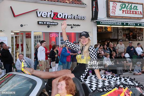 Miss Burlington County Samantha Mason takes part in the Miss New Jersey In Toyland Parade at Ocean City New Jersey Boardwalk on June 15 2016 in Ocean...