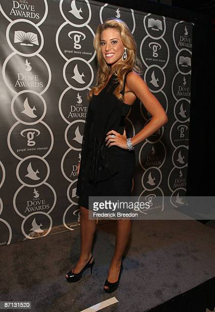 Miss California Carrie Prejean poses in the press room at the 40th Annual GMA Dove Awards held at the Grand Ole Opry House on April 23, 2009 in...