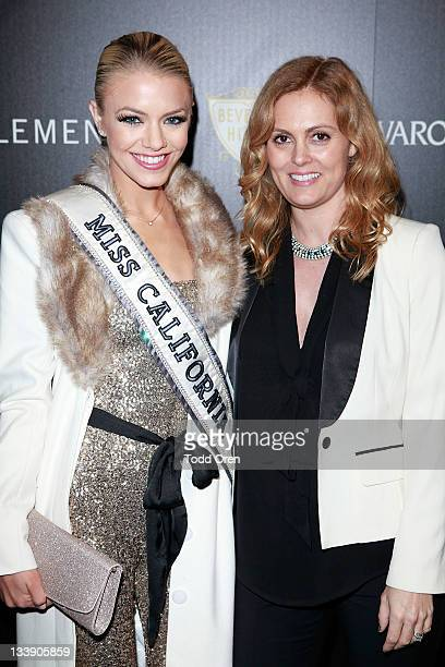 Miss California Katie Blair and Bebe Senior PR Manager Alexis Avery Cittadine pose at the Bebe Swarovski Event on November 21 2011 in Beverly Hills...