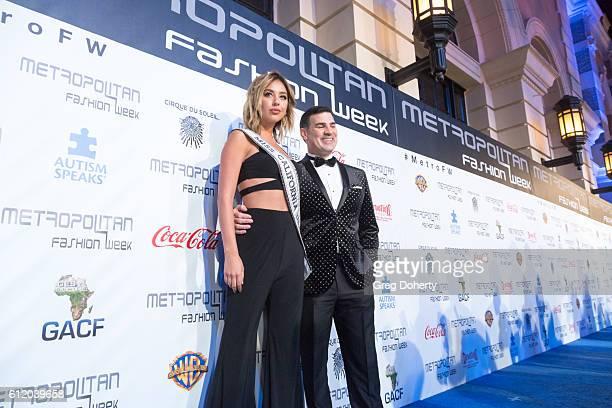 Miss California Nadia Mejia and Eduardo Khawam arrive at the Metropolitan Fashion Week 2016 Closing Gala And Fashion Awards at Warner Bros Studios on...