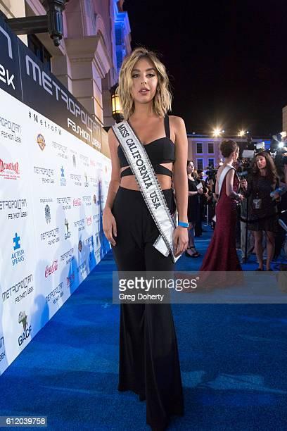 Miss California Nadia Mejia arrives at the Metropolitan Fashion Week 2016 Closing Gala And Fashion Awards at Warner Bros Studios on October 1 2016 in...