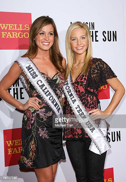 Miss California USA 2008 Raquel Beezley and Miss California Teen USA 2008 Taylor Atkins arrive at the Los Angeles premiere of 'A Raisin in the Sun'...