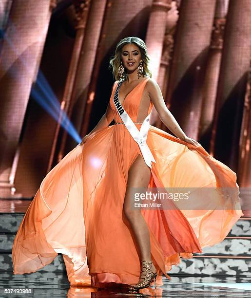 Miss California USA Nadia Mejia competes in the evening gown competition during the 2016 Miss USA pageant preliminary competition at TMobile Arena on...