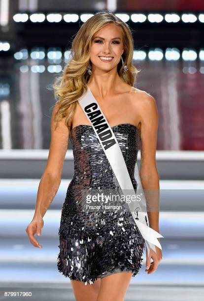 Miss Canada 2017 Lauren Howe competes during the 2017 Miss Universe Pageant at The Axis at Planet Hollywood Resort Casino on November 26 2017 in Las...