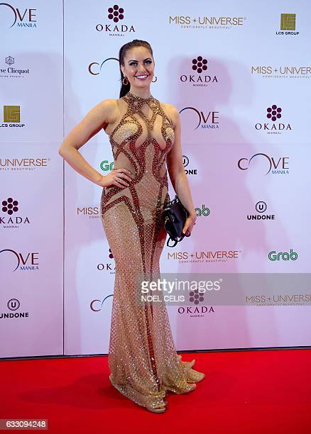 Miss Canada Siera Bearchell poses as she arrives at the Miss Universe afterparty red carpet event at a hotel in Manila on January 30 2017 Miss France...