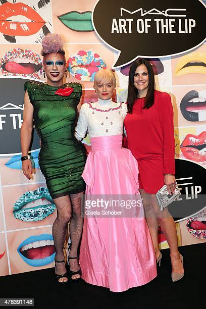 Miss Candy Lily Allen Bettina Zimmermann during the presentation of 'Art of the Lip' by MAC Cosmetics at Haus der Kunst on June 24 2015 in Munich...