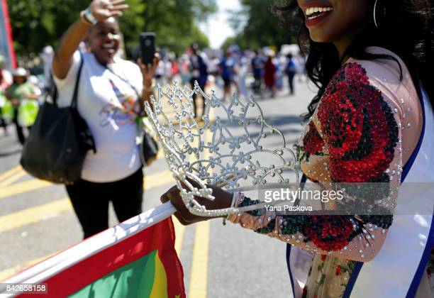 Miss Caribbean United States Zoe Cadore prepares to march in the West Indian American Day Parade in celebration of the Caribbean Carnival on...