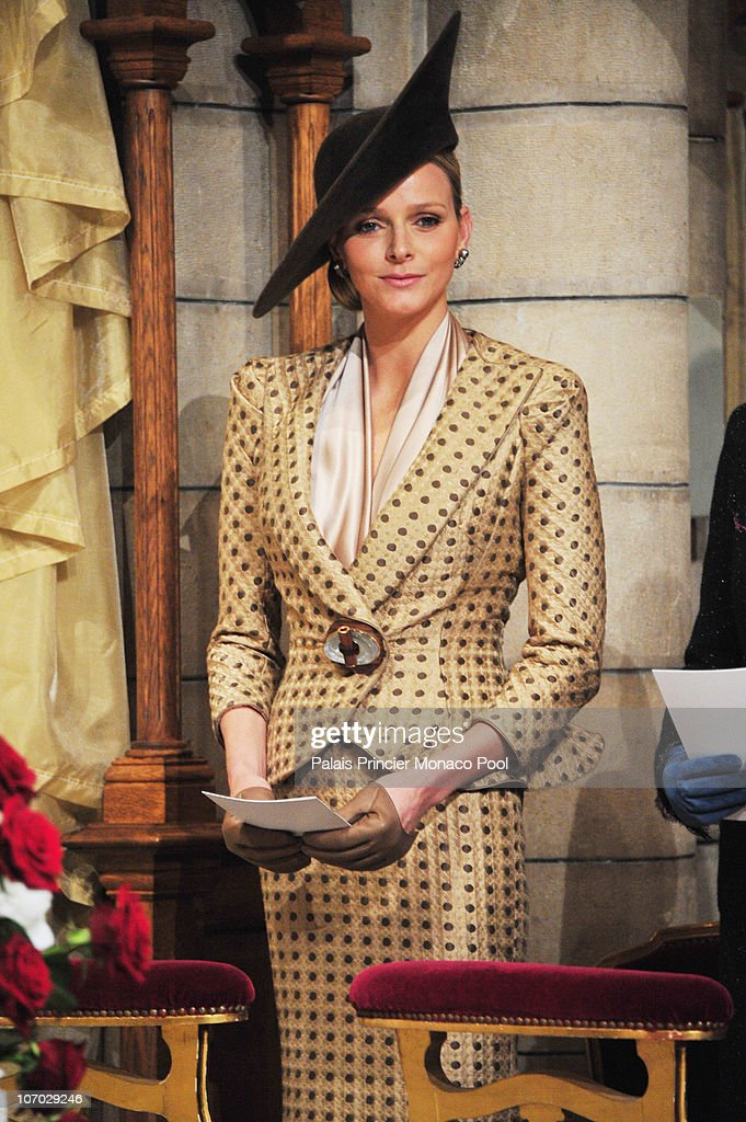 Miss Charlene Wittstock attends the Mass on Monaco National Day at Cathedrale Notre-Dame Immaculee on November 19, 2010 in Monaco, Monaco.