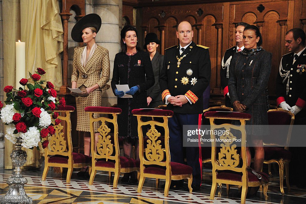 Miss Charlene Wittstock, Princess Caroline of Hanover, HSH Prince Albert II of Monaco and Princess Stephanie of Monaco attend the Mass on Monaco National Day at Cathedrale Notre-Dame Immaculee on November 19, 2010 in Monaco, Monaco.