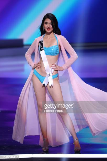Miss China Jiaxin Sun appears onstage at the Miss Universe 2021 Preliminary Competition at Seminole Hard Rock Hotel & Casino on May 14, 2021 in...