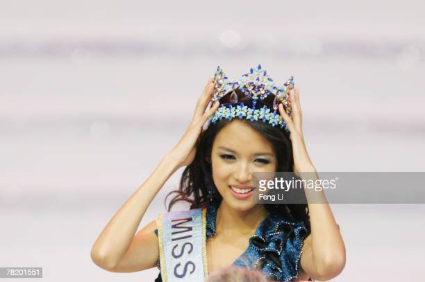 Miss China PR Zi Lin Zhang holds her crown after won the title of Miss World 2007 at the 57th Miss World final contest at the Beauty Crown Theatre on...