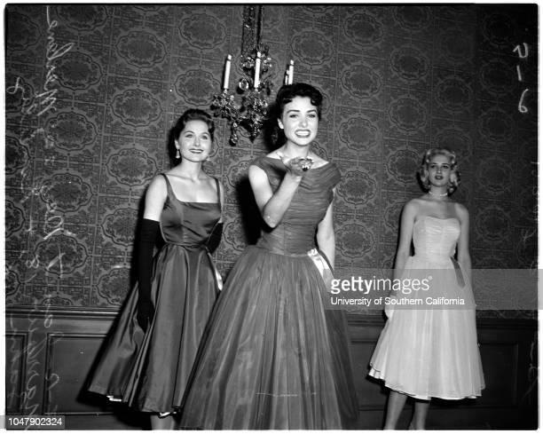 Miss Cinamiracle contest, 12 March 1958. Janet Dey -- 20 years;Merlene Marrow -- 18 years;Beverly Zahn -- 18 years;Dan McCormack ;Frank Ricketson...