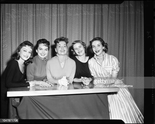 Miss Cinderemmy finalists , 26 November 1956. Marilyn Granas;Gloria Donovan;Rusty Beaumont;Barabra Orme;Gloria Weeks;Robert Cummings.;Caption slip...
