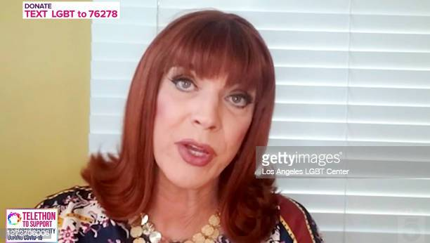 """Miss Coco Peru participates in the """"Love In Action"""" live telethon hosted by the Los Angeles LGBT Center at KTLA 5 Studios on September 12, 2020 in..."""