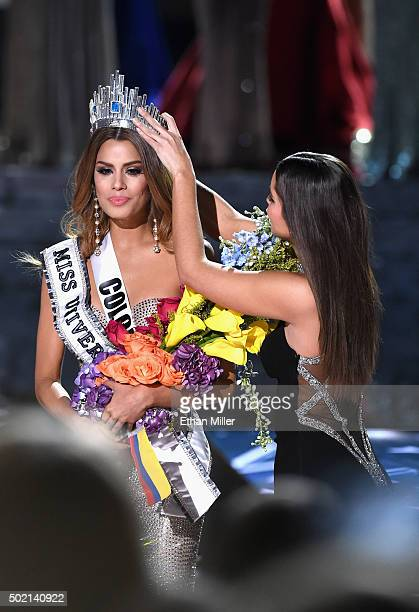 Miss Colombia 2015 Ariadna Gutierrez Arevalo is crowned the 2015 Miss Universe by Miss Universe 2014 Paulina Vega during the 2015 Miss Universe...