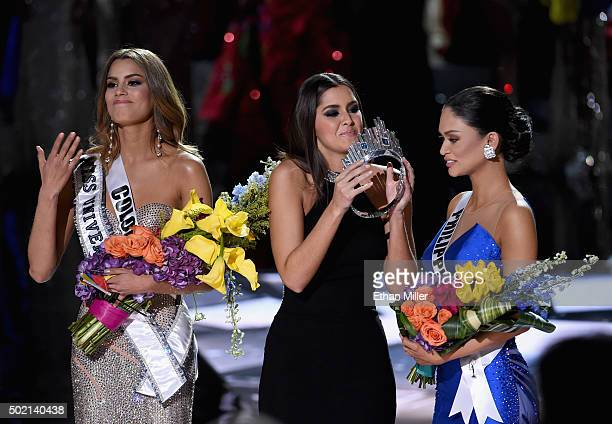 Miss Colombia 2015 Ariadna Gutierrez Arevalo looks on as Miss Universe 2014 Paulina Vega crowns Miss Philippines 2015 Pia Alonzo Wurtzbach the new...