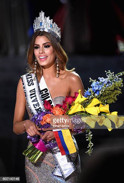Miss Colombia 2015 Ariadna Gutierrez Arevalo reacts after being mistakenly named Miss Universe 2015 instead of first runnerup during the 2015 Miss...