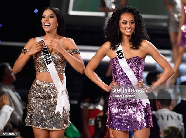Miss Colombia 2017 Laura Gonzalez and Miss USA 2017 Kara McCullough are named as top 16 finalists during the 2017 Miss Universe Pageant at The Axis...