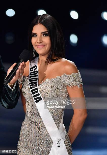 Miss Colombia 2017 Laura Gonzalez answers a question during the interview portion of the 2017 Miss Universe Pageant at The Axis at Planet Hollywood...