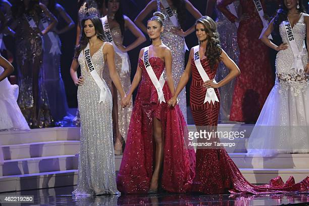 Miss Colombia Paulina Vega Miss Ukraine Diana Harkusha and Miss USA Nia Sanchez onstage during The 63rd Annual Miss Universe Pageant at Florida...