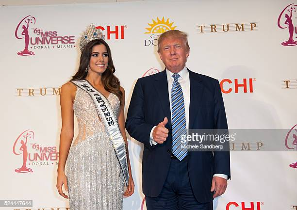Miss Colombia Paulina Vega walks the red carpet with Donald Trump after Miss Colombia was crowned Miss Universe
