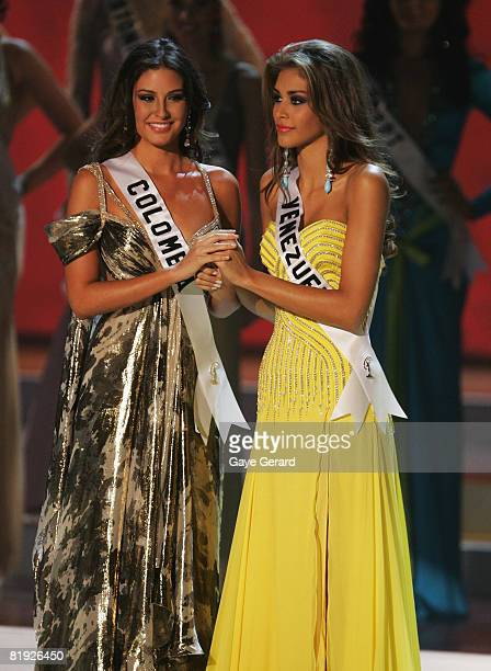 Miss Colombia Taliana Vargas crowned 1st runner up and Miss Venezuela Dayana Mendoza crowned Miss Universe 2008 on stage during the 57th Annual Miss...