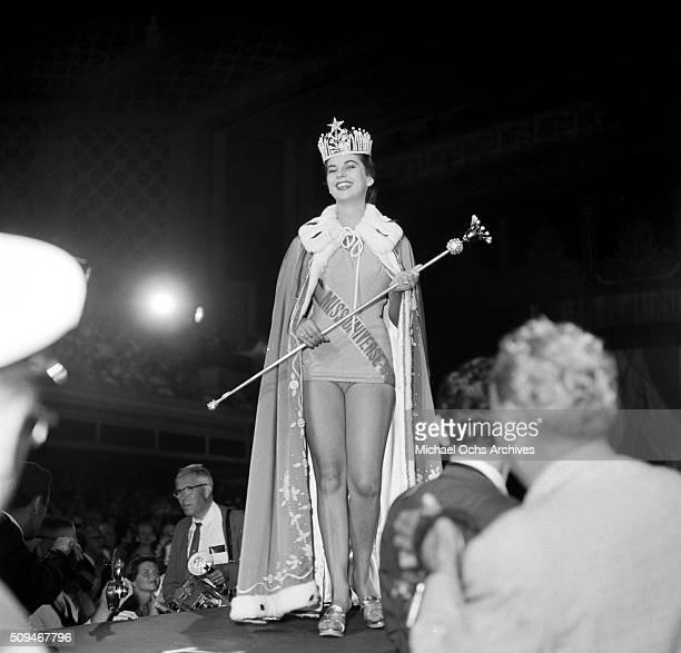 Miss Columbia, Luz Marina Zuluaga, wins the Miss Universe title in Long Beach, California.