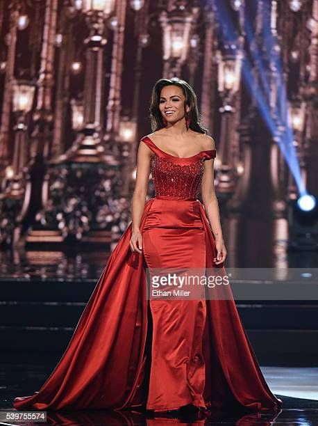 Miss Connecticut USA 2016 Tiffany Teixeira competes in the evening gown competition during the 2016 Miss USA pageant at TMobile Arena on June 5 2016...