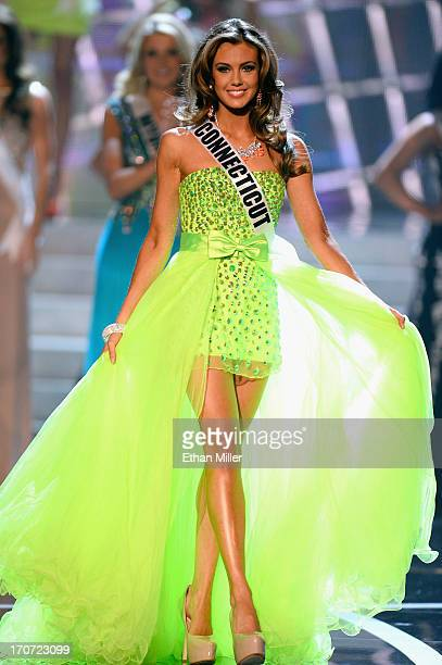 Miss Connecticut USA Erin Brady is named a top 15 finalist during the 2013 Miss USA pageant at PH Live at Planet Hollywood Resort Casino on June 16...