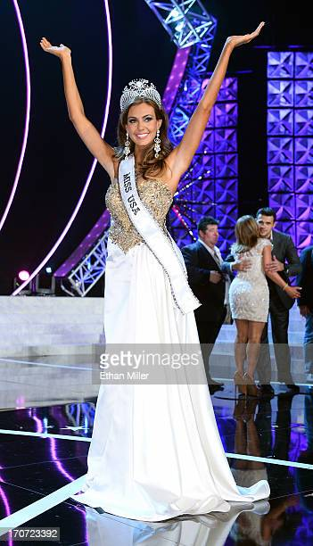 Miss Connecticut USA Erin Brady poses on stage after winning the 2013 Miss USA pageant at PH Live at Planet Hollywood Resort Casino on June 16 2013...