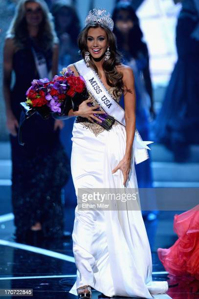 Miss Connecticut USA Erin Brady reacts after being crowned Miss USA during the 2013 Miss USA pageant at PH Live at Planet Hollywood Resort Casino on...