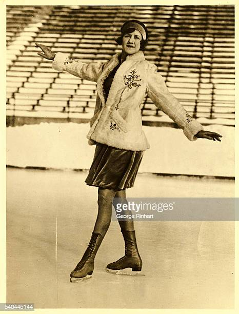 Miss Constance Wilson, woman figure skating champion of canada and the United States, photographed while training here for the world championship...