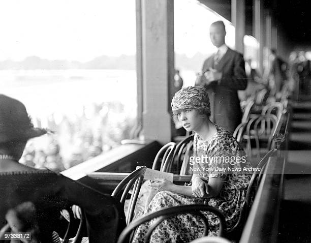 Miss Consuelo Vanderbilt daughter of Mrs William K Vanderbilt Jr prominent in New York Society is shown here at the inaugural of the Spa's racing...