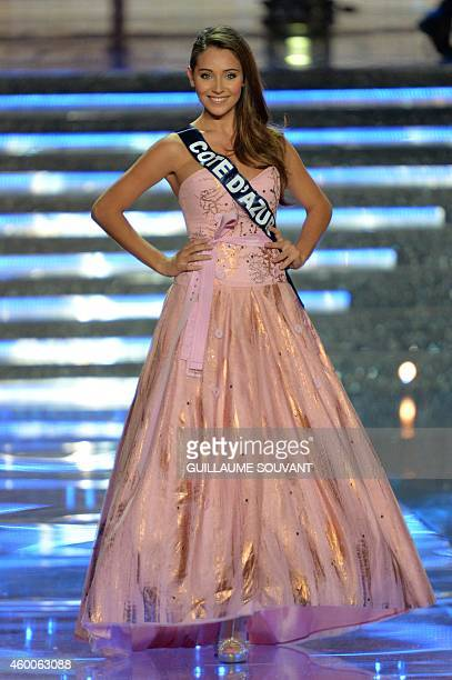Miss Côte D'Azur Charlotte Pirroni poses during the Miss France 2015 beauty contest on December 6 2014 in Orleans AFP PHOTO / GUILLAUME SOUVANT