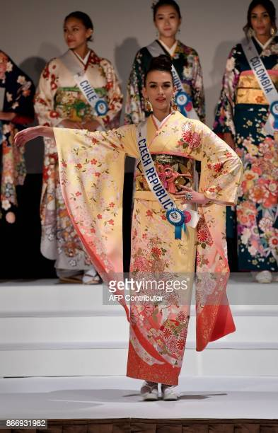 Miss Czech Republlic Alice Cincurova poses in a traditonal Japanese Kimono during the 57th Miss International Beauty Pageant press conference in...