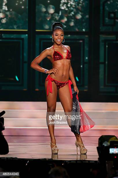Miss Delaware Renee Bull poses onstage at the 2015 Miss USA Pageant Only On ReelzChannel at The Baton Rouge River Center on July 12 2015 in Baton...
