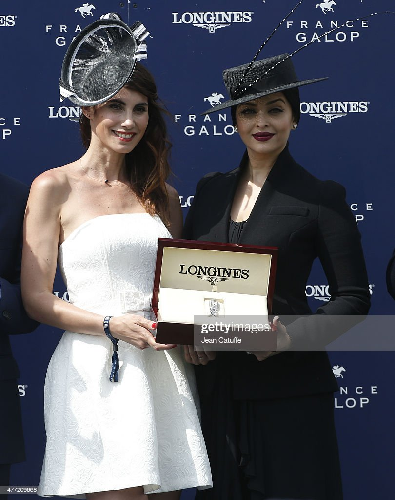 Miss Diane 2015 Sandra Challal and Aishwarya Rai pose during the trophy ceremony of the `Prix de Diane Longines 2015` at Hippodrome de Chantilly on...