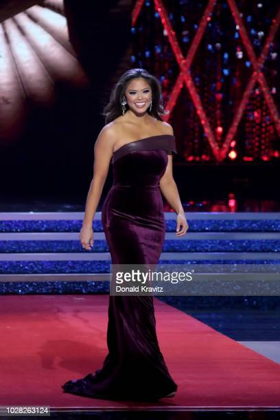 Miss District of Columbia 2018 Allison Farris participates in the Eveningwear portion of the 1st Night of Preliminaries of the Miss America 20...