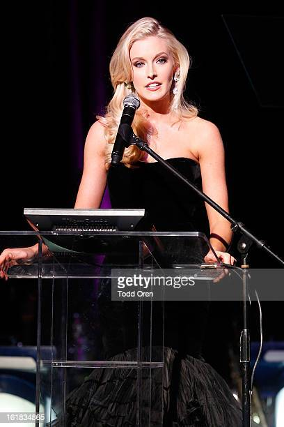 Miss District of Columbia Allyn Rose speaks at the Date for the Cure To Benefit Susan G Komen For The Cure on February 16 2013 in Universal City...